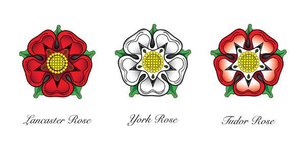 Símbolo das duas famílias que disputavam o trono da Inglaterra na Guerra das Rosas. Os Tudor assumiram o poder depois do fim do conflito, em 1485.