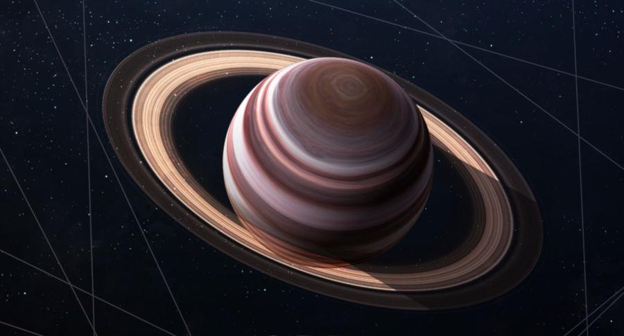 Saturno é conhecido pelo seu sistema de anéis compostos por gelo.