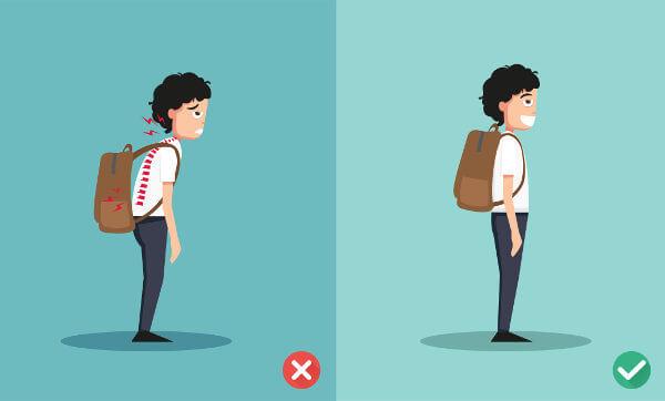 O uso inadequado de mochila pode desencadear má postura.