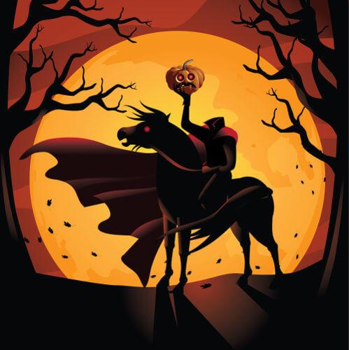 O cavaleiro sem cabeça é um personagem que surgiu na Europa e é famoso no folclore dos Estados Unidos.