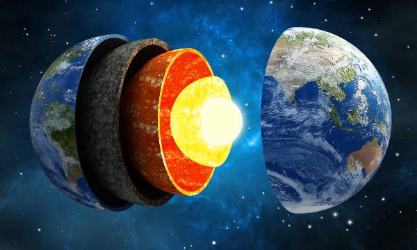 A Terra divide-se em crosta terrestre, manto e núcleo.