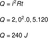 No cálculo acima, foi necessário que transformar o intervalo de tempo, dado em minutos, em segundos. Desse modo, foi possível que calcular a quantidade da calor dissipado, igual a 240 J.