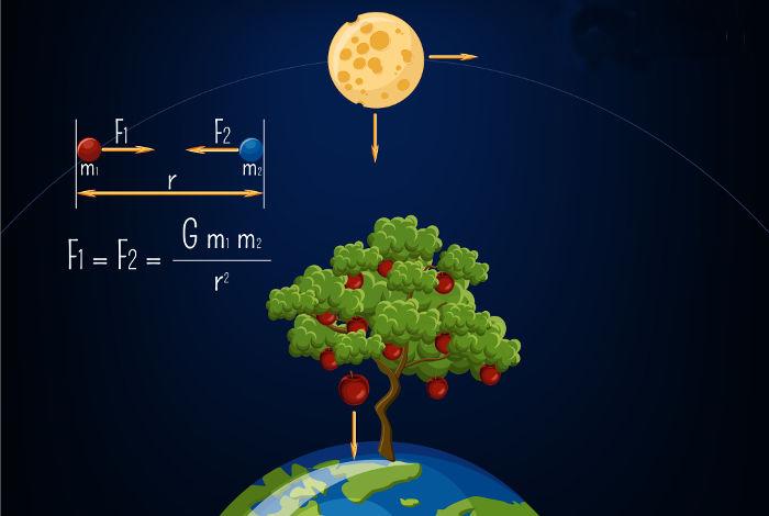 O esquema mostra como calcula-se força gravitacional entre dois corpos