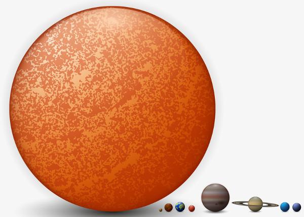 Na figura, temos uma concepção artística em escala real que compara o tamanho do Sol aos demais planetas do Sistema Solar.
