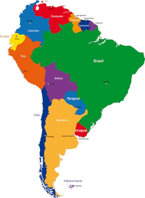 América do Sul é formada por 12 países e está na parte meridional do continente americano.