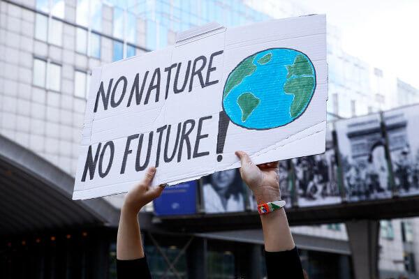 """O cartaz acima faz um apelo pela preservação ambiental com os dizeres """"sem natureza, sem futuro""""."""