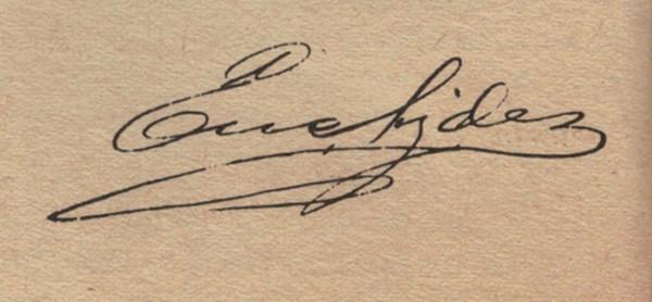 Autógrafo de Euclides da Cunha, uma importante figura da literatura pré-modernista.